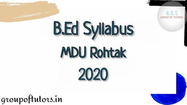 B.Ed Syllabus MDU 2020-2021